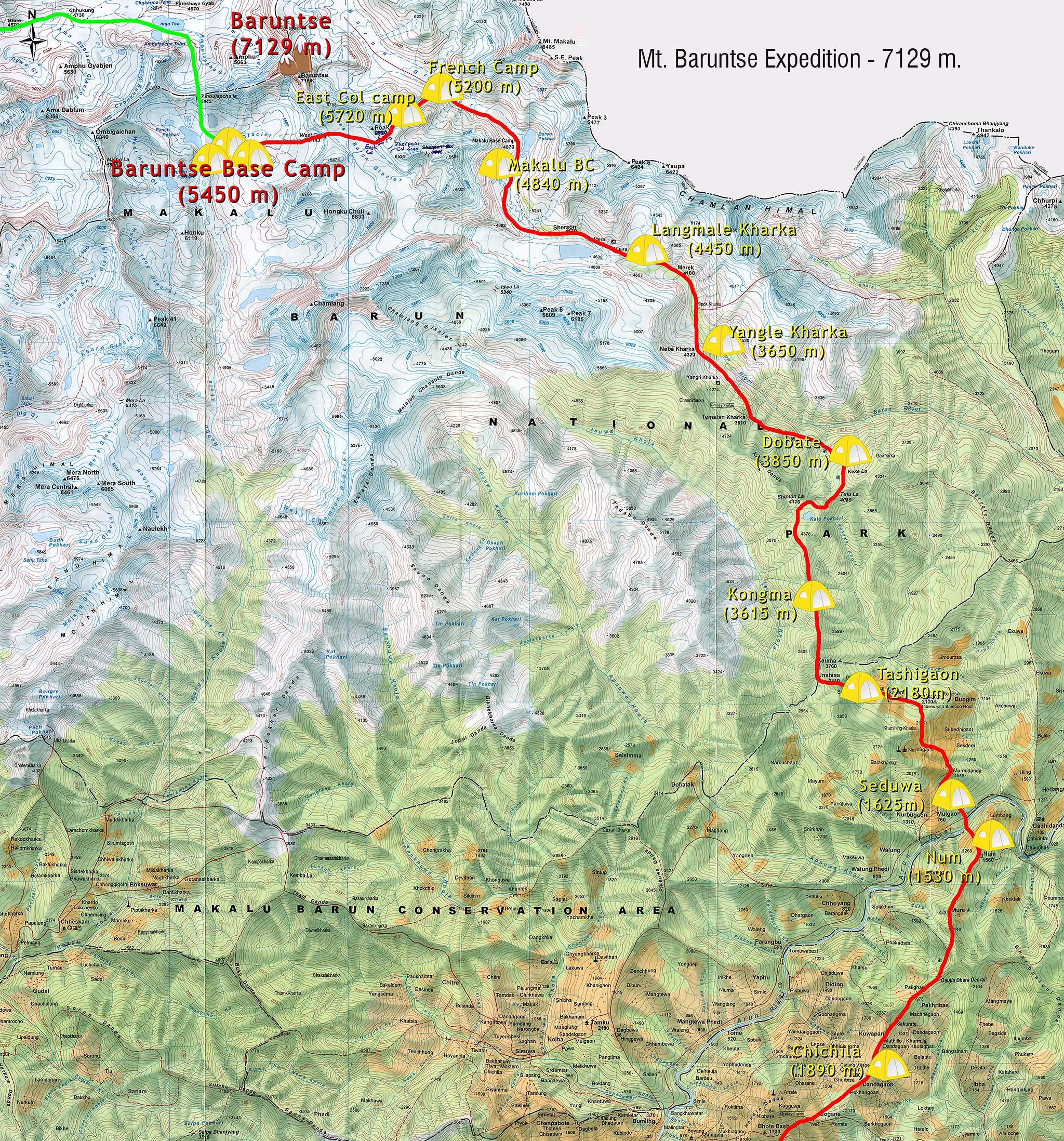 Mt Baruntse Expedition Map