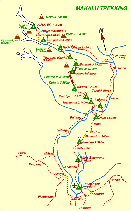 Mt Makalu Expedition Map