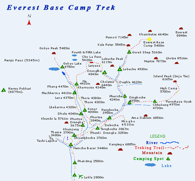 Gokyo Chola Pass Kalapathar Trekking Map